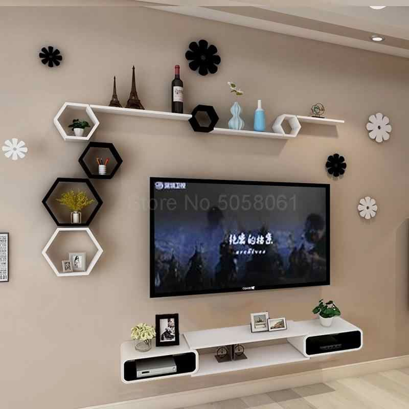 Wall Shelf Set Top Box Living Room Wall Mounted Tv Cabinet Room Background Wall Tv Wall Decoration Frame Aliexpress In 2020 Bedroom Tv Wall Tv Room Design Living Room Design Modern