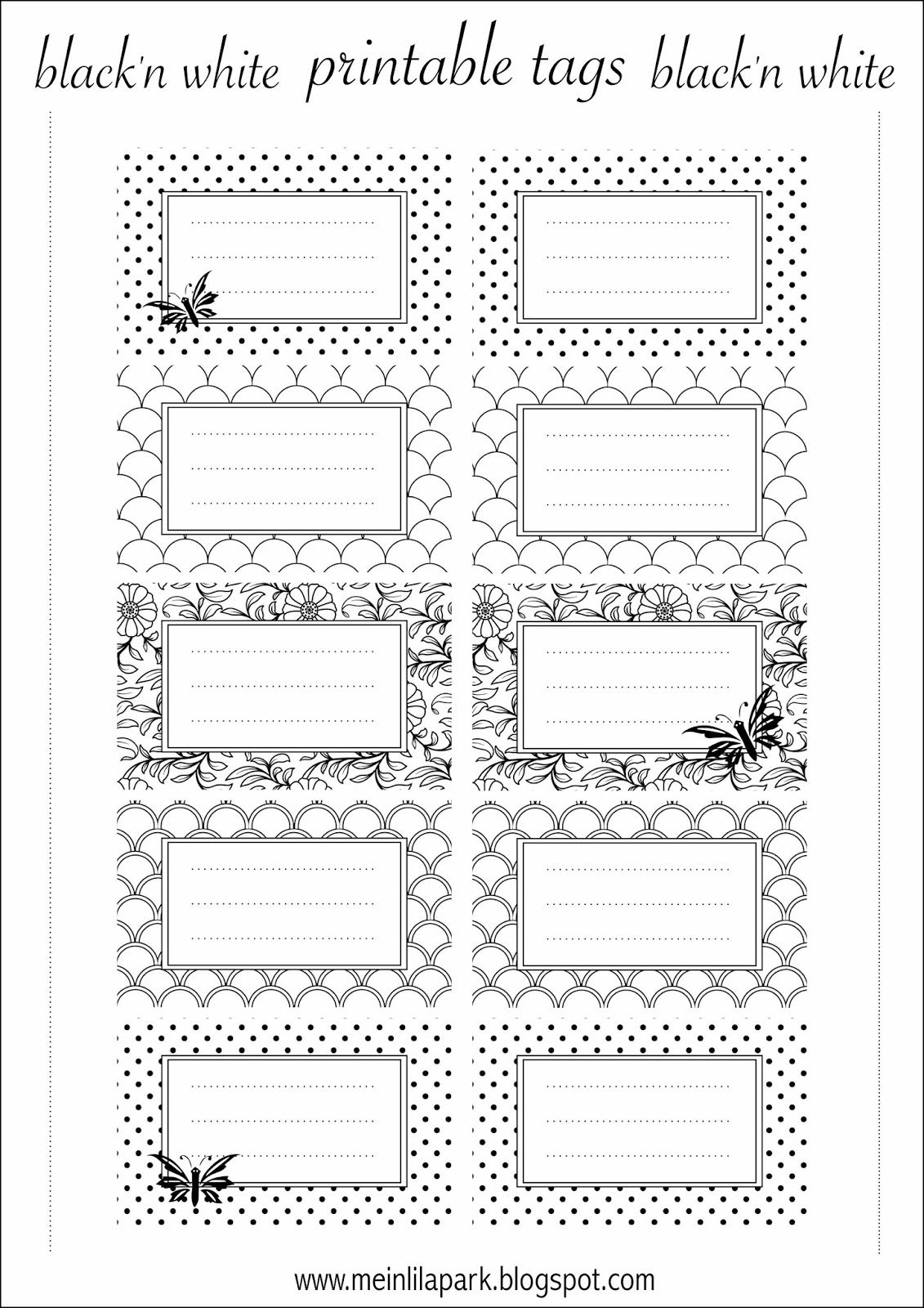 Free printable tags black and white - ausdruckbare Etiketten ...