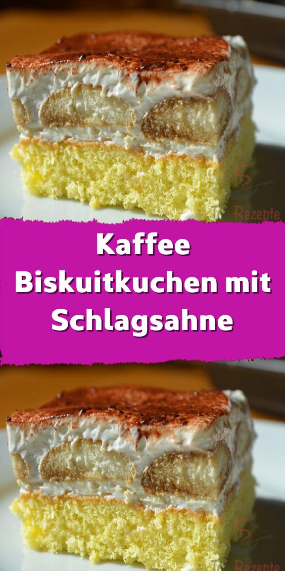 Kaffee Biskuitkuchen mit Schlagsahne #löffelbiskuitrezept