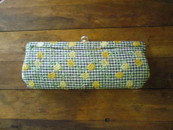 clutch bag - vintage 60s mad men purse - frame clutch - fabric handbag - baguette - summer purse - gingham
