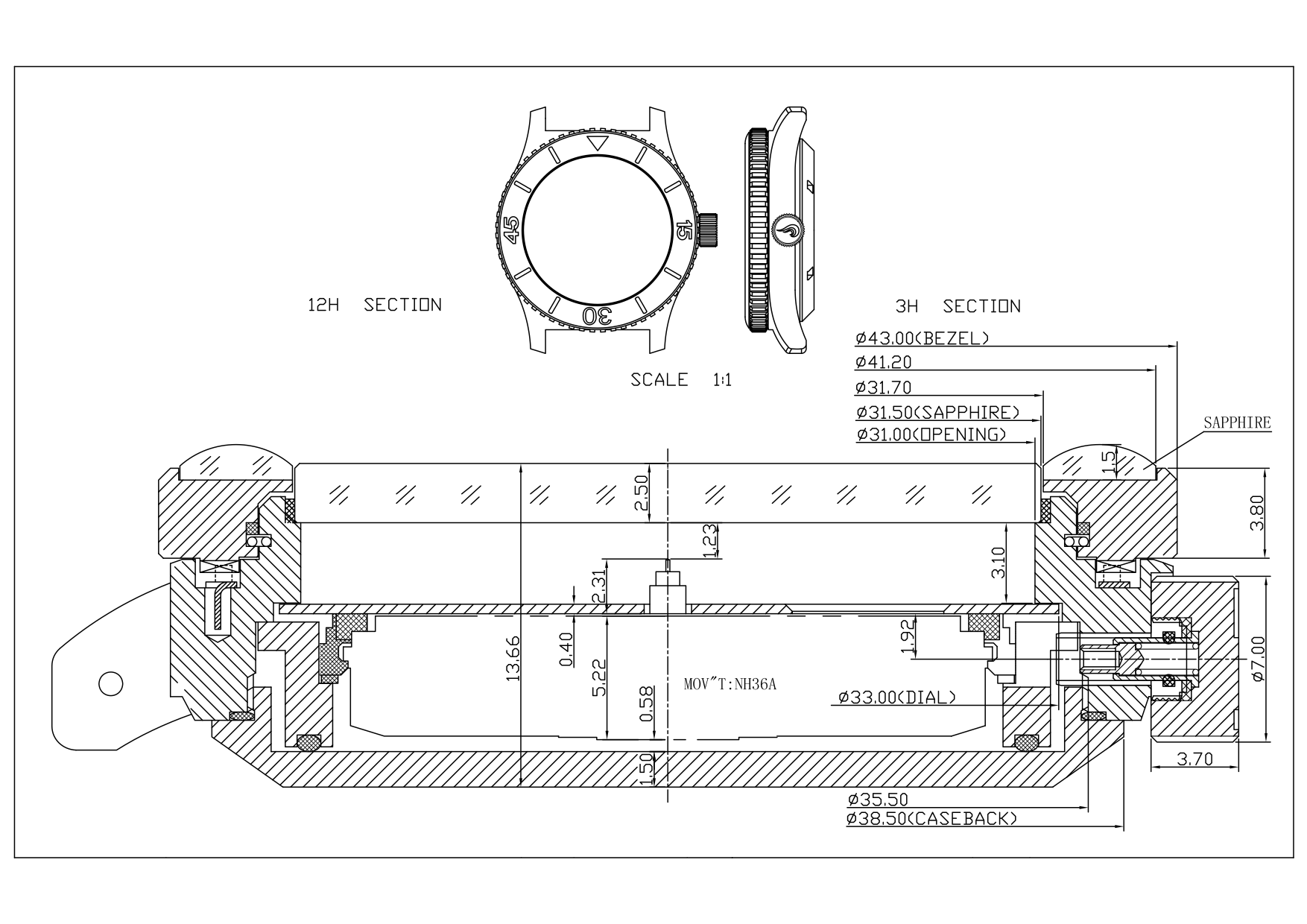 Technical Drawing Of The Prometheus Sailfish Automatic