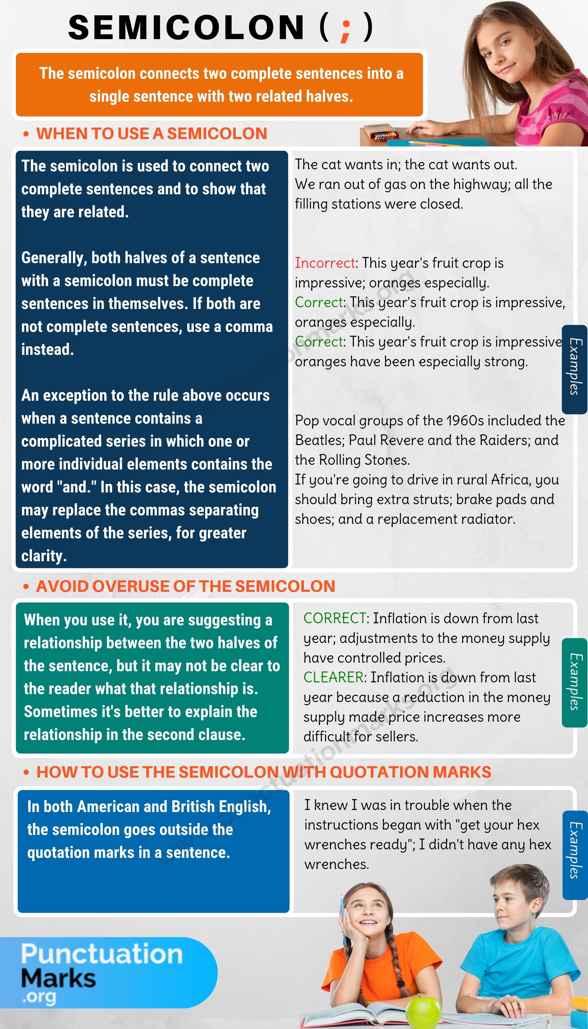 Semicolon When To Use A Semicolon In English