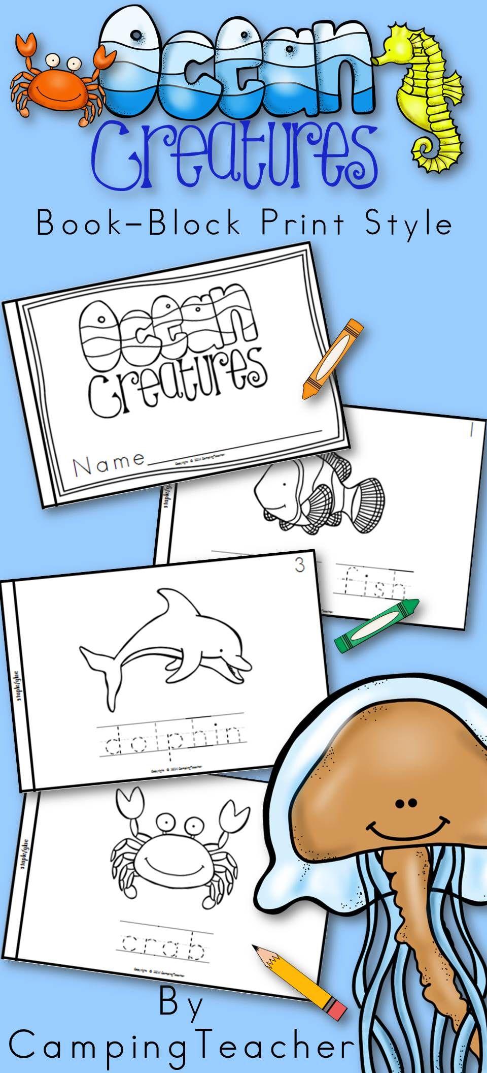 Ocean Animals Book For Kindergarten And 1st Grade Block Print