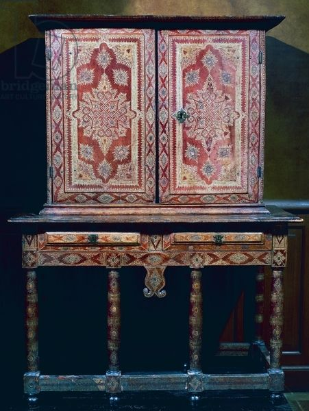 Louis XIII style wood cabinet covered with red leather, France, 17th