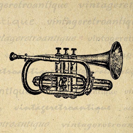 printable digital cornet trumpet graphic by vintageretroantique rh pinterest ca Trumpet Player Clip Art Printable Picture of a Trumpet