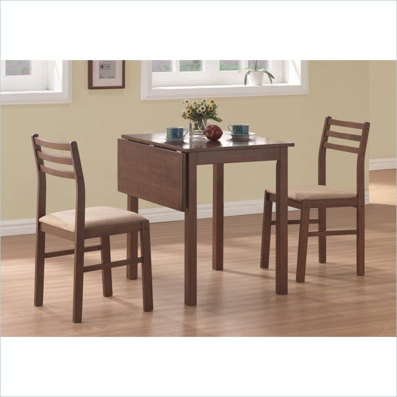 Monarch 3 Piece Solid Top Drop Leaf Dining Set In Walnut Square Dining Table Set Dining Table Chairs Square Dining Tables