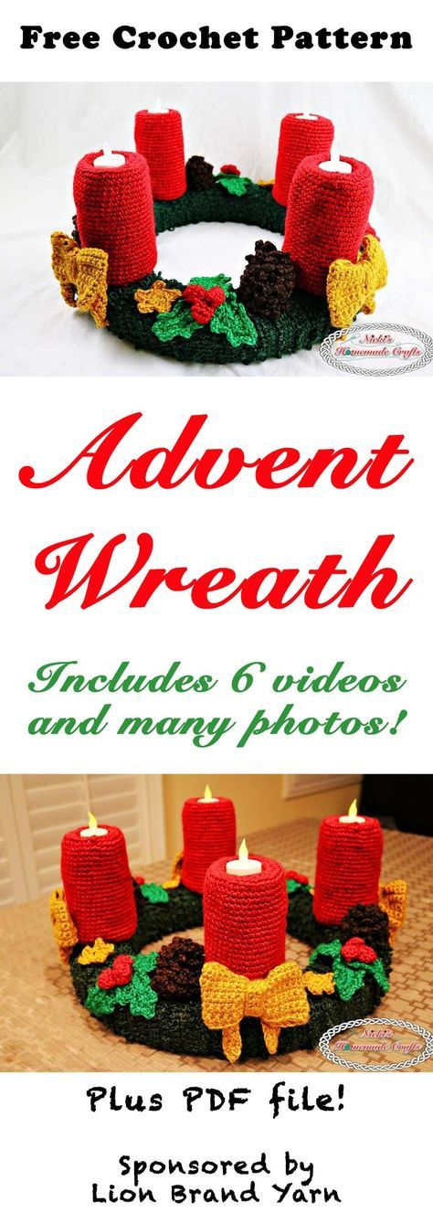 Advent Wreath for Christmas - Free Crochet Pattern