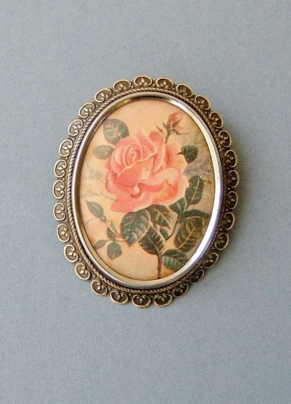 Edwardian Pink Rose Brooch Pin by Thomas L by QueensParkVintage