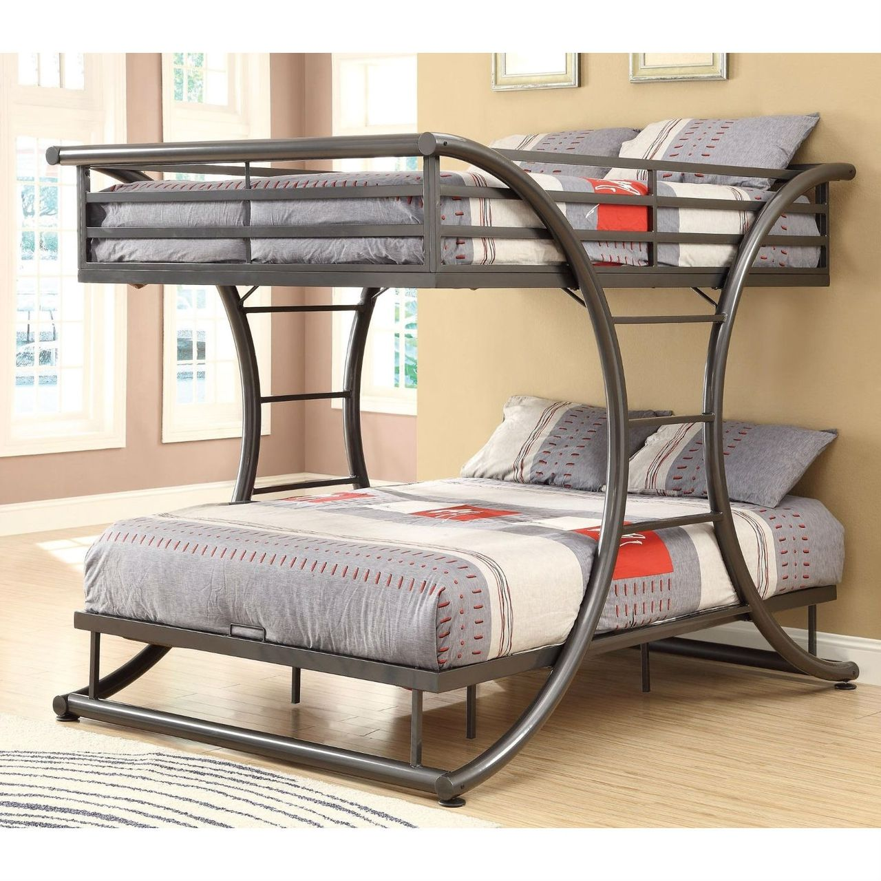 Full Over Full Size Modern Metal Bunk Bed Frame In Gunmetal Finish