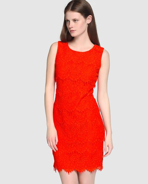 c827be2c4fd01 Vestido de encaje de mujer Fiesta El Corte Inglés en color rojo coral …