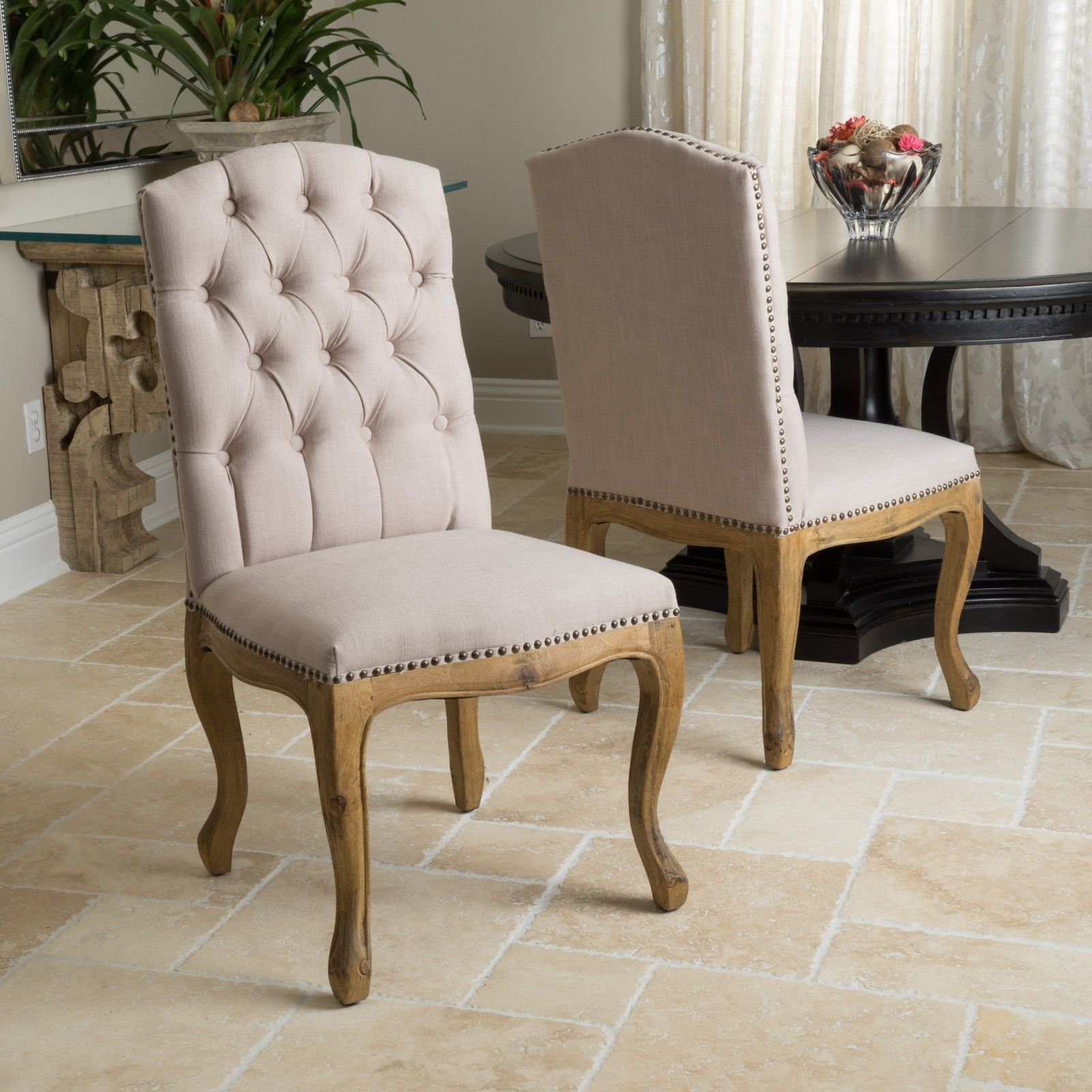 Set Of 2 French Vintage Design Weathered Wood Dining Chairs W Nailhead Accents Chairs Nailhead Ac Tufted Dining Chairs Dining Chairs Dining Chairs For Sale