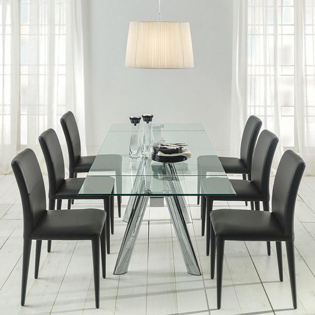 Mesa de comedor extensible en cromo y cristal Boston   decoración ...