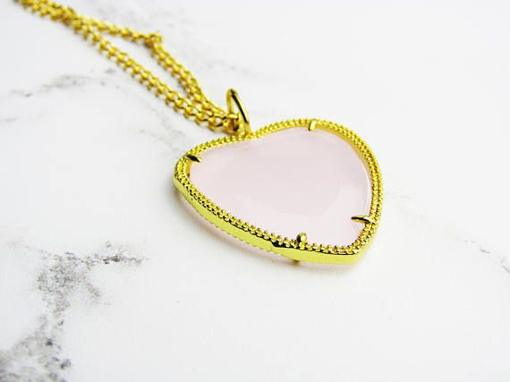 Heart Pendant Necklace, Pink Heart Necklace, Gold Necklace, Pink and Gold Necklace, Glass Pendant, Girl Friend Necklace, Gifts For Mom