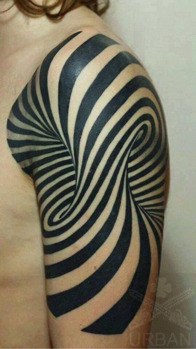 arm tattoo Optical illusion