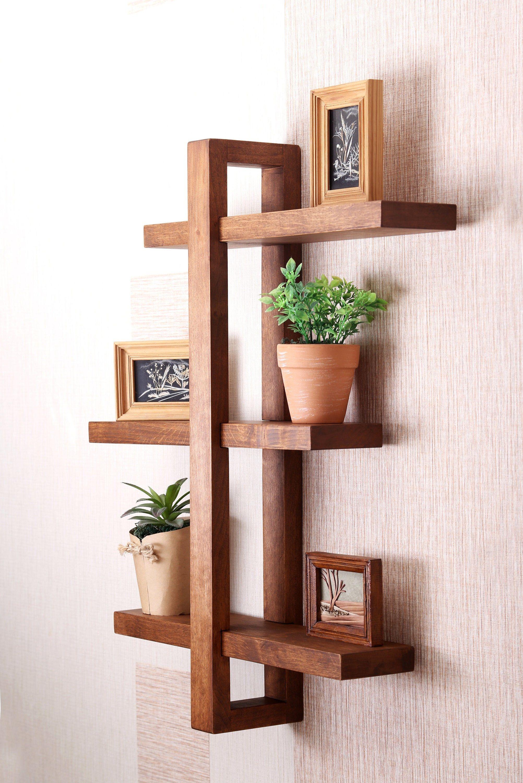 wall Wooden shelf Scandinavian style floating wall shelf Rustic reclaimed wood shelf, Modern wall shelf bathroom kitchen hanging wall shelf