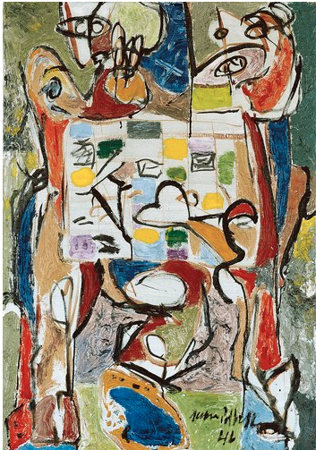 Painting by Jackson Pollock, 1946, The Tea Cup, oil on canvas.