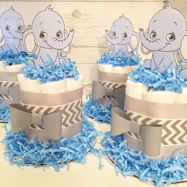 Baby elephant mini diaper cake centerpieces
