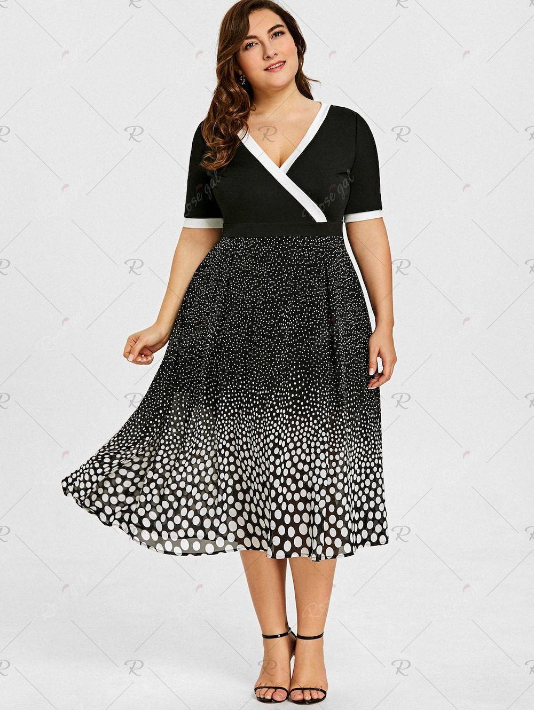Plus Size Polka Dot Flare Midi Dress | Clothes Shopping | Dresses ...
