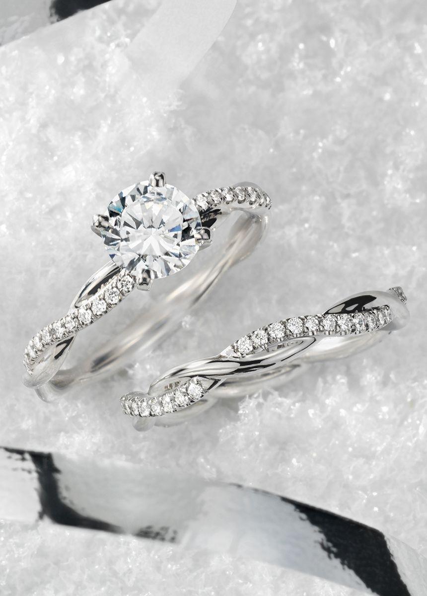 Petite twist diamond engagement ring in platinum ct tw