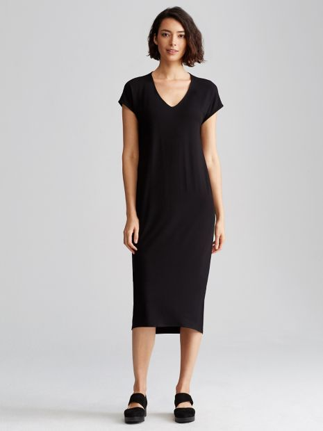 V-Neck Dress with Cap Sleeves in Viscose Jersey | EILEEN FISHER Measures 45 inches in front, 47 inches in back (size small).   Model featured is 5'11