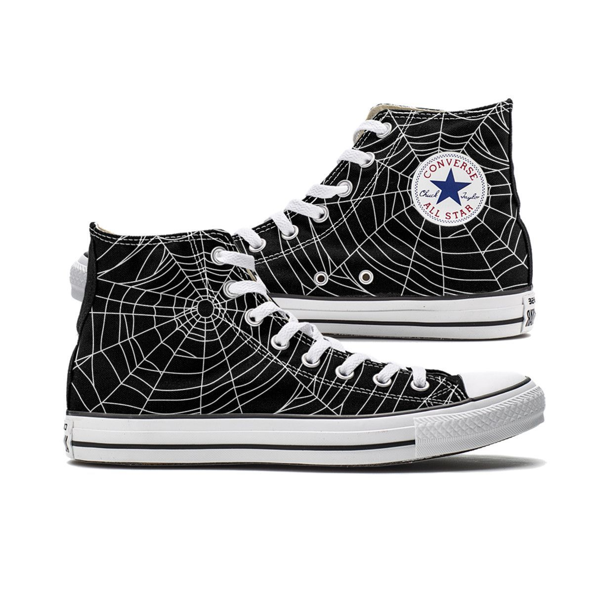 Spider Web Converse Black High Top chucks are here and made to order  especially for you. These Chucks feature a Spider Web pattern over both  panels of the ... e748c30829