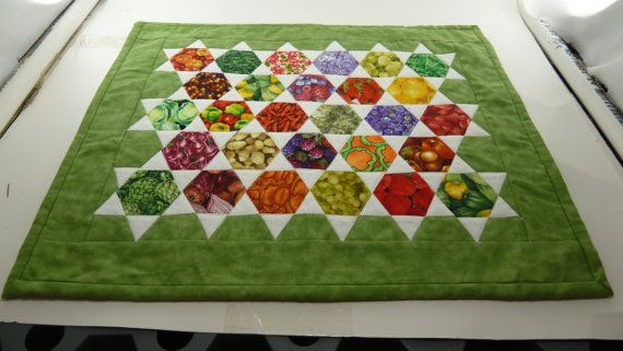 Vegetable Garden Table Mat 14 x 17  Finished and by Quiltbuilders