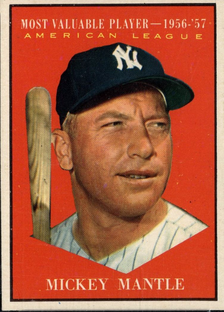 1961 Topps Mickey Mantle Mvp Card 475 Baseball Cards Mickey Mantle Baseball Card Values