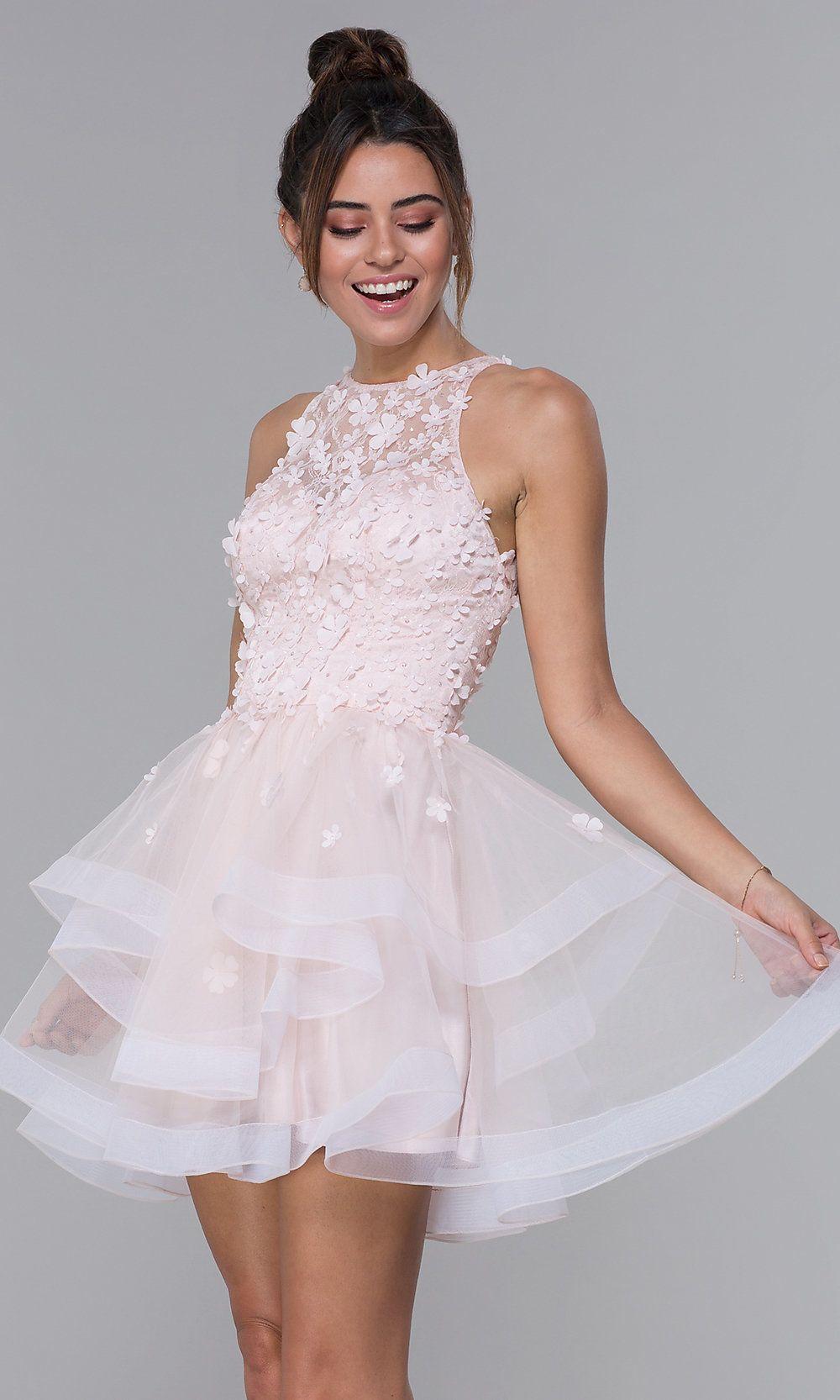 Lace-Bodice Satin Short Homecoming Dress - PromGirl