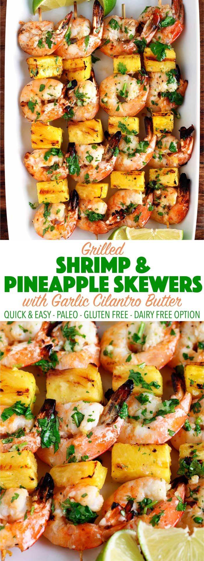 So delicous and easy! Less than 25 mins to make these grilled shrimp and pinapple skewers. Perfect for dinner or a party! Paleo, gluten free, dairy free, whole30. #grilledshrimp