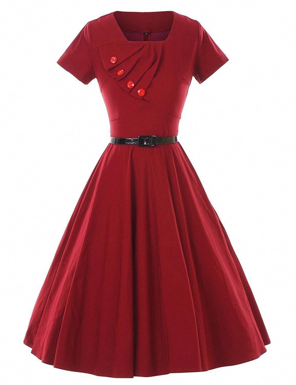 1950s Retro Vintage Short Sleeve Party Swing Stretchy Dresses Burgundy C812ix4m577 Retro Dress Stretchy Dress Dresses [ 1500 x 1154 Pixel ]