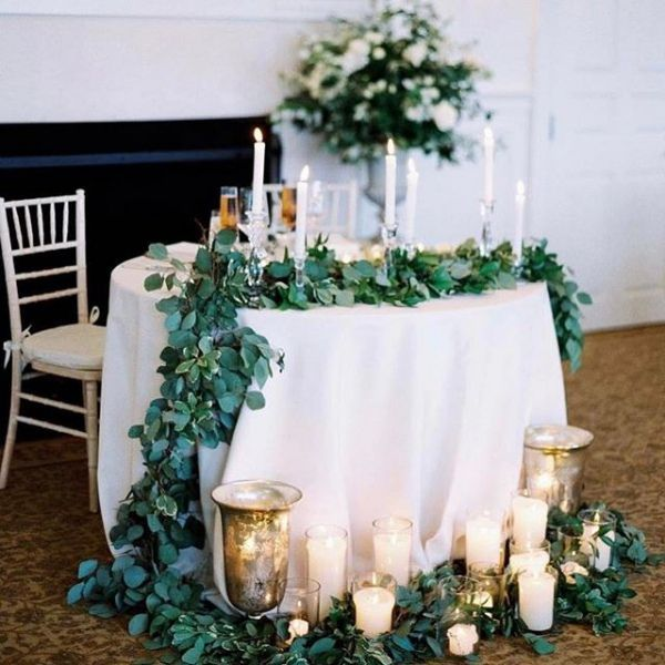 Romantic Sweetheart Table Settings For A Wedding Reception