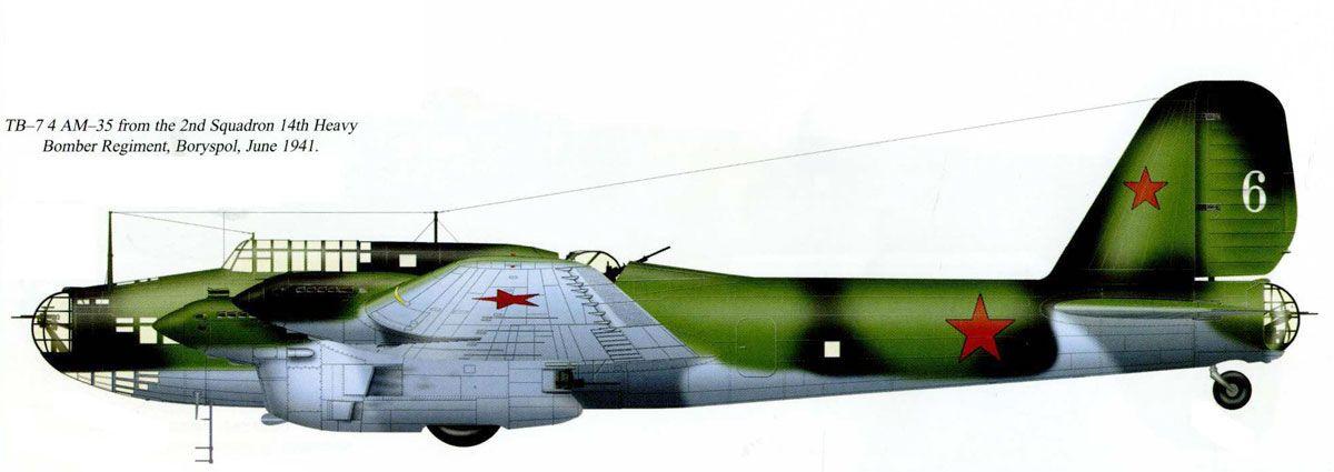 Artwork Petlyakov TB-7 AM-35,  from 2nd Squadron, 14th Heavy Bomber Regiment, Boryspol, June 1941.