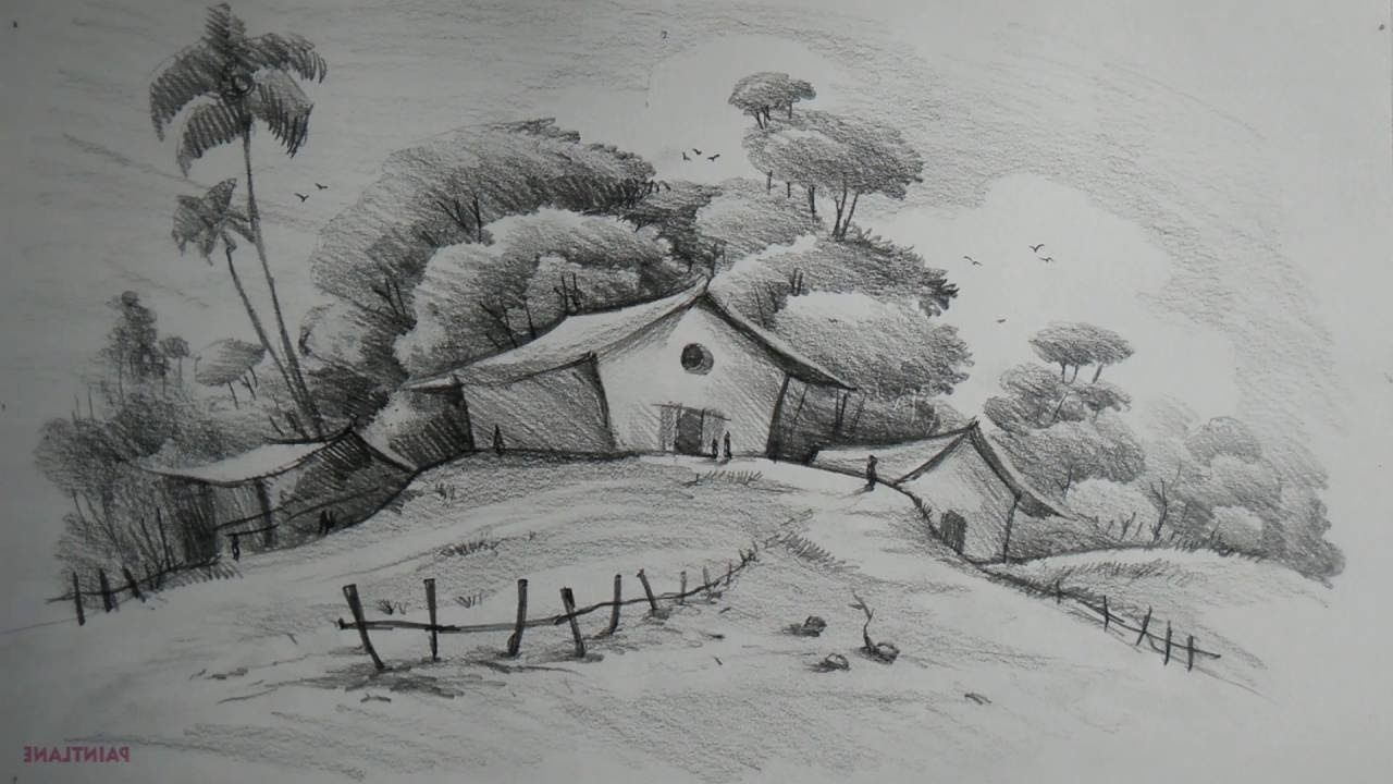 Easy Nature Landscape Drawings Easy Pencil Drawing ...