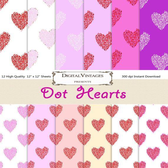 Heart digital paper Heart background paper by DigitalVintages