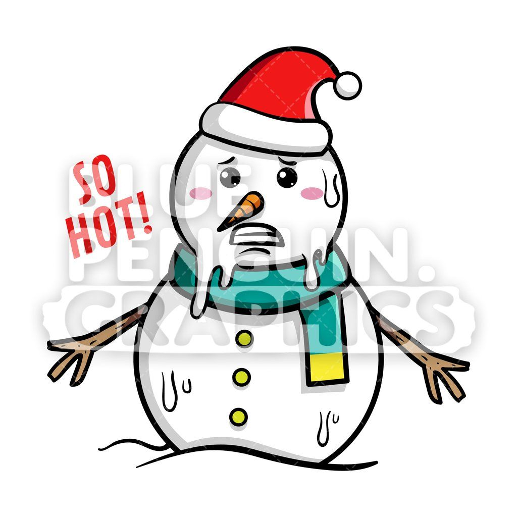 Snowman Melted Feeling So Hot Vector Cartoon Clipart Cartoon Clip Art Clip Art Christmas Illustration