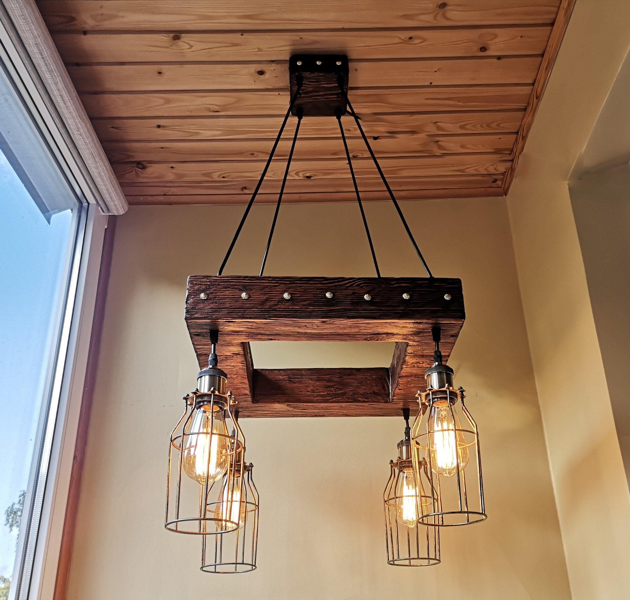 Rustic Chandelier Industrial Modern Lighting Commercial Etsy Rustic Chandelier Industrial Modern Lighting Wooden Pendant Lighting