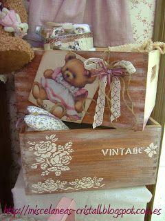 ***Cajas de madera y osito Teddy***