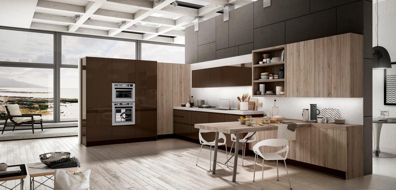 Penisola Cucina In Muratura cucina moderna ad angolo con isola