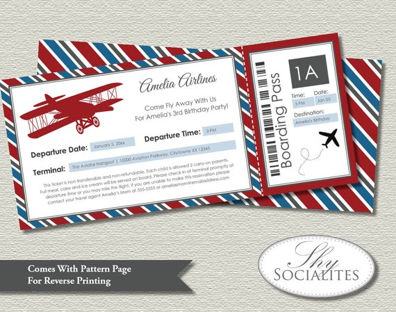 Vintage Airplane Boarding Pass Invitations Ticket Up Up And Away Americana Airplane Party Bir Vintage Airplane Party Airplane Birthday Airplane Party