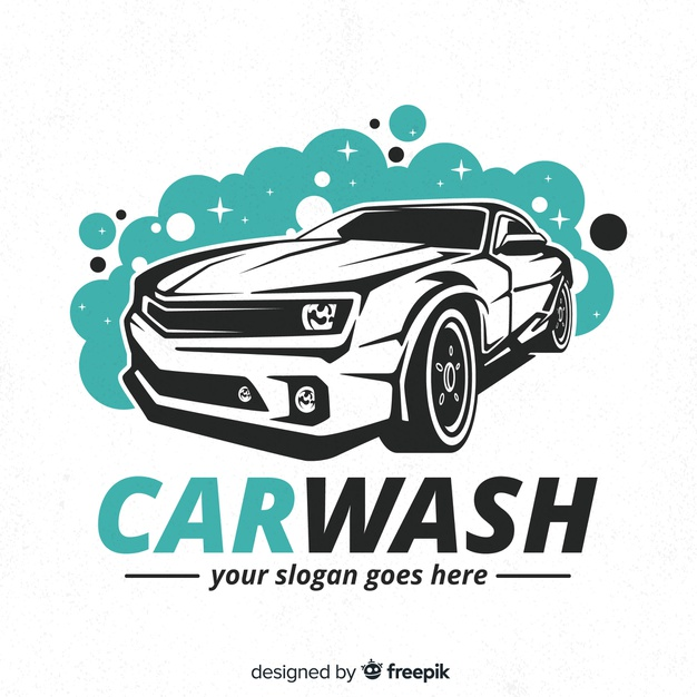 Hand drawn car wash logo background Vector Free Download