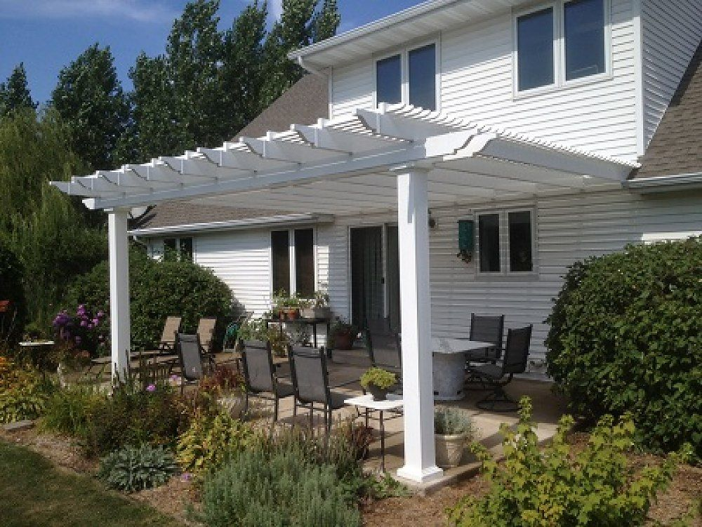 Attached 10 X 14 Pergola Kit White Vinyl W Aluminum Frame 5 Square Posts 75 Shade By Zen Pergolas Zen Pergolas In 2020 Pergola Patio Ideas Diy Pergola Backyard Pergola