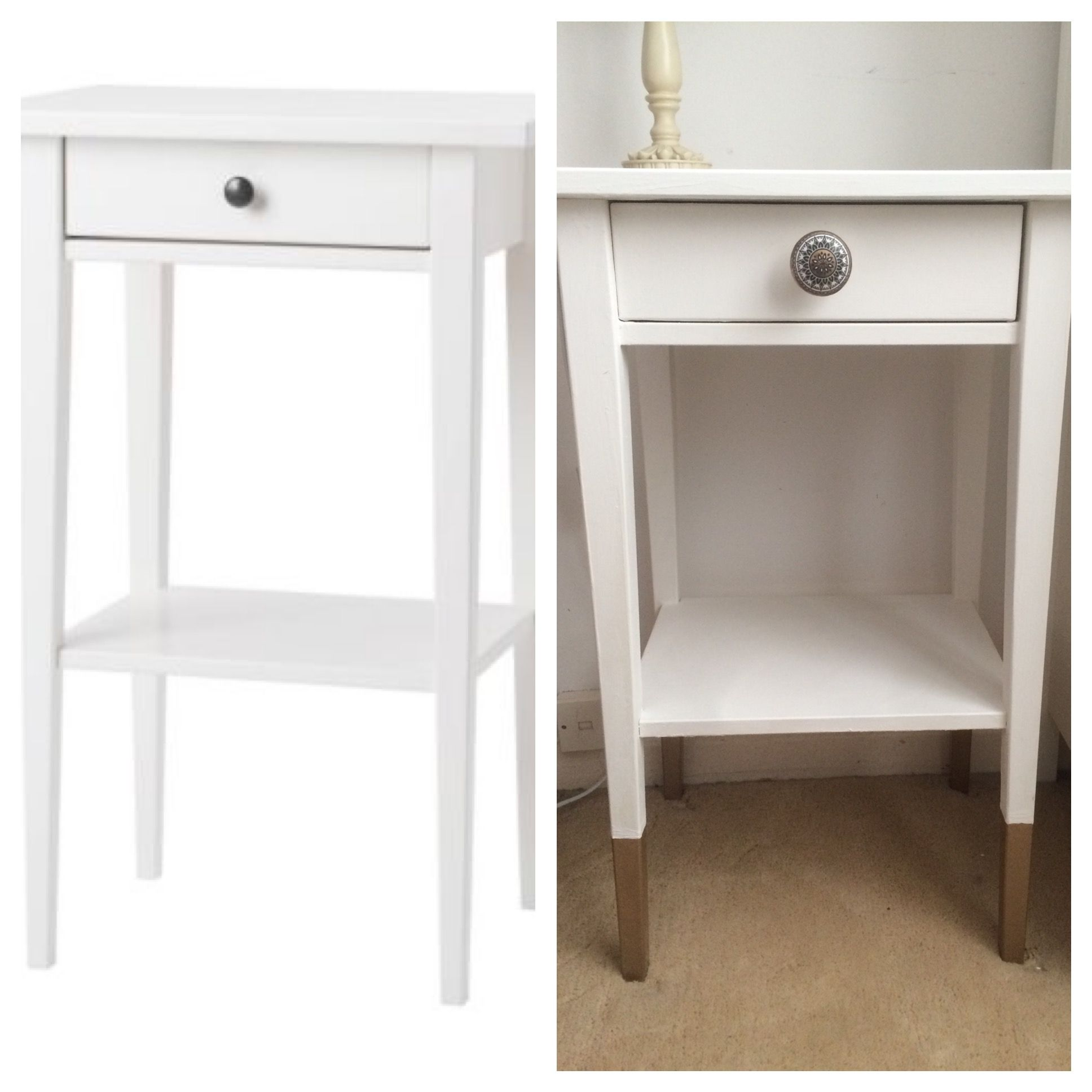 Ikea Hemnes Bedside Table Chalk Painted Gold Dipped Ikea Hemnes  # Ikea Meuble Tv Hemnes