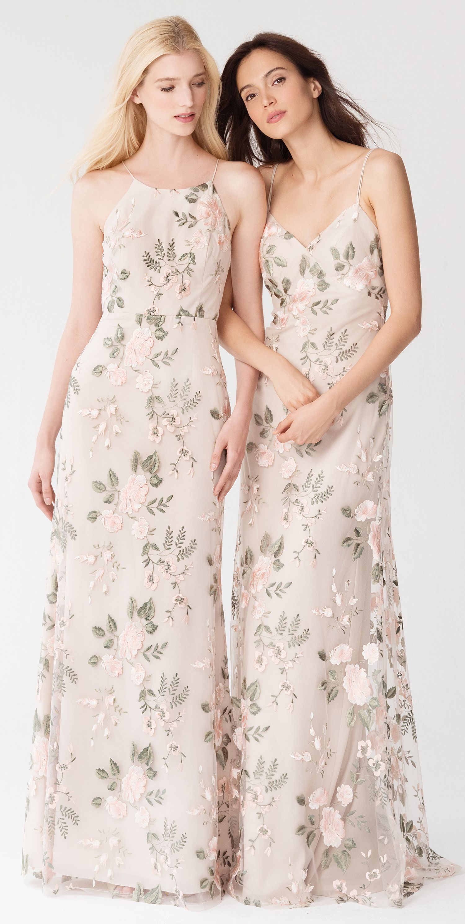 78866dd480ba Claire + Julianna in Blush Sand Dune Embroidered Tulle by Jenny Yoo // Bridesmaid  Dresses for the Modern Bride