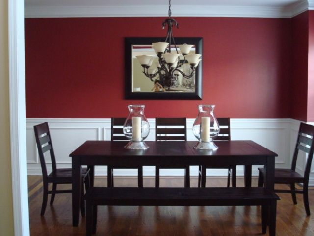 Modest Formal Red Dining Room Scheme