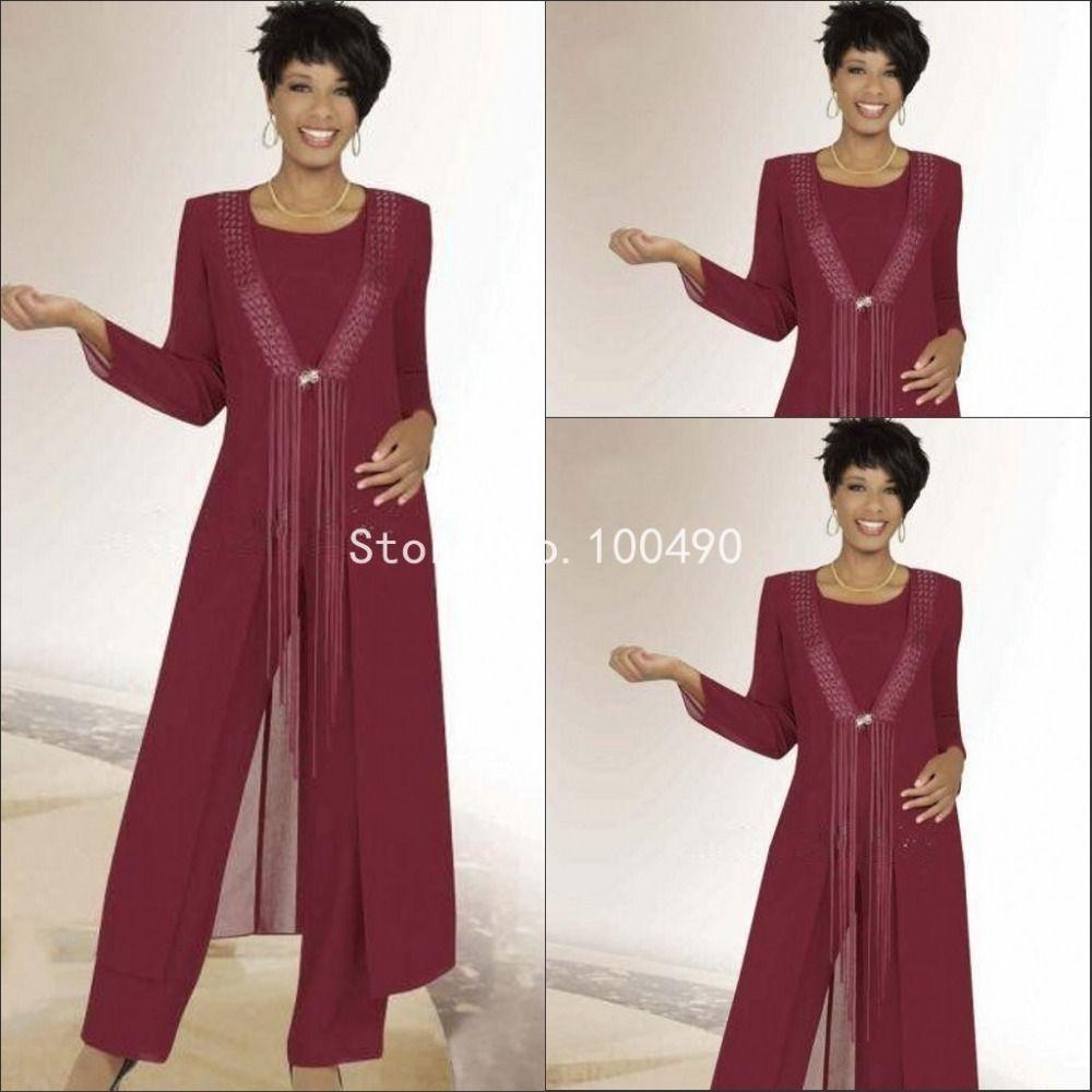 6cb79a1d2a9b Pas cher 2016 deux pièces rouge foncé à manches longues pantalons mère de  la mariée robes avec la veste costumes pantalons en mousseline de soie robe  de ...