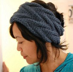 Free knitting pattern for wide headband with cables, also comes in narrow version, and more headband knitting patterns