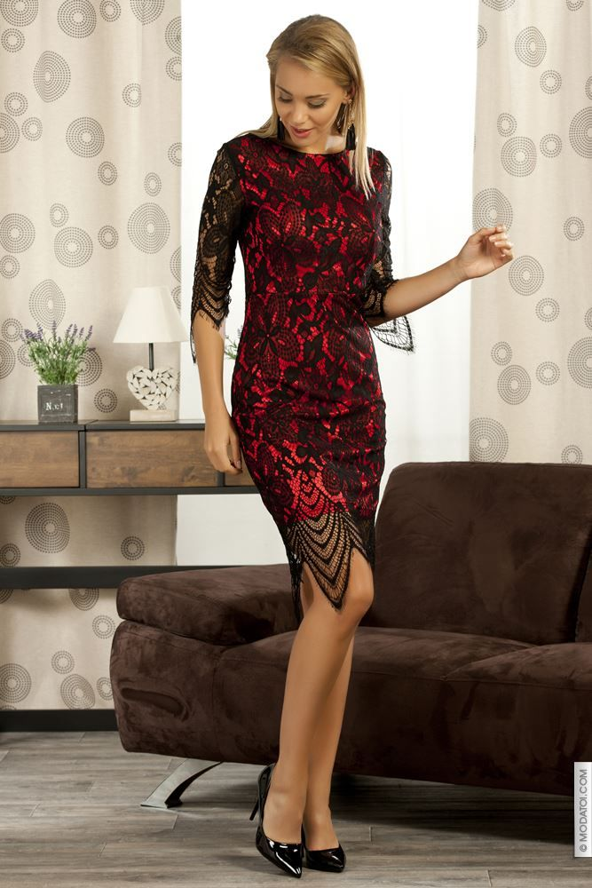 436412aad36 Robe moulante noir rouge taille 40