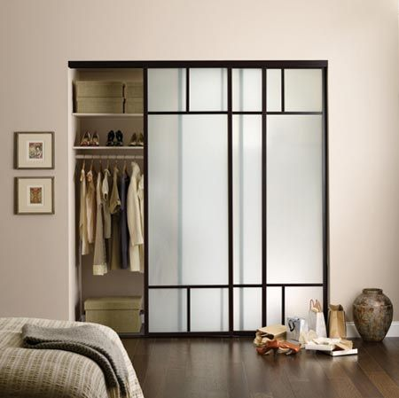 Wenge Finish Closet Door, Duo T Design With Frosted Glass  #the_sliding_door_company The Sliding