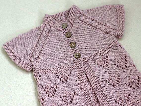 Vest dusty pink Knit Baby girl, baby sweater short sleeve, knitting ...