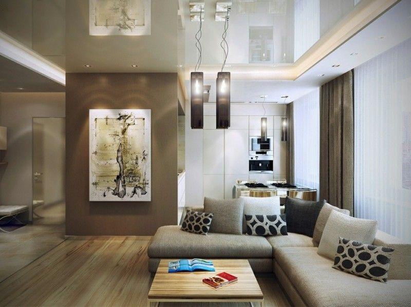 Salon moderno ideas de paredes de color marrón | Living | Living ...